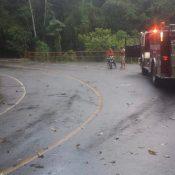Fuertes lluvias derriban arboles interrumpiendo transito en la carretera La Vega Jarabacoa